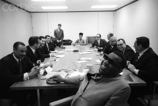 Music legend, Ray Charles, sits in on a summit-meeting during the 60's of the record label he worked for in his early career