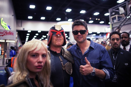 Karl Urban (right) doing something he never does on set: smile