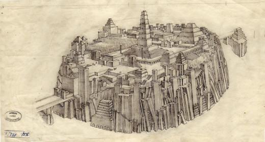 Drawing of Plato's Atlantis