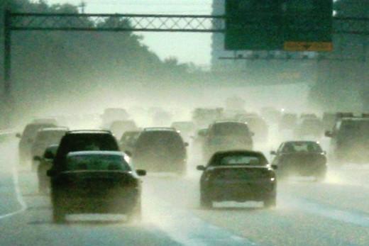 Heavy Traffic During Rain Storm