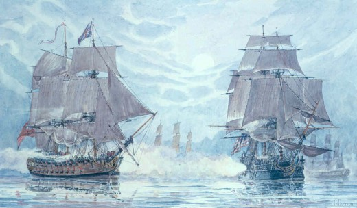 A Gilkerson painting of the Battle of Flamborough Head. The British ships guarding a convoy of merchantmen were commanded by Captain Richard Pearson