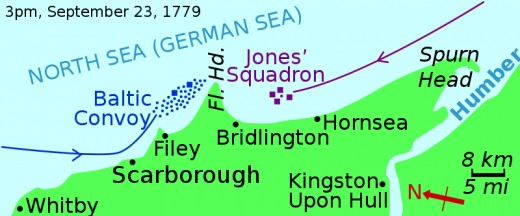At 3pm on September 23rd, 1779 Commodore John Paul Jones aboard Bonne Homme Richard engaged Pearson aboard 'Serafino' '