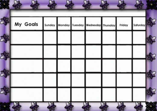 Girly purple goals chart.