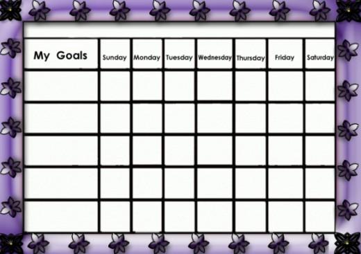 Girly purple goals chart.