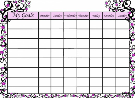Pretty goals chart for girls.