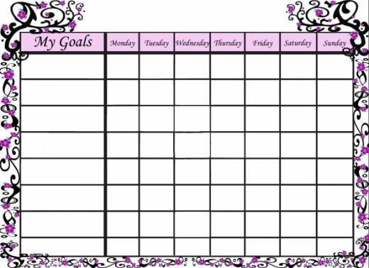 Pretty goals chart for girls.