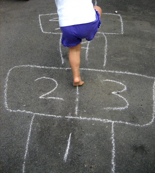 Hopscotch being played by a child