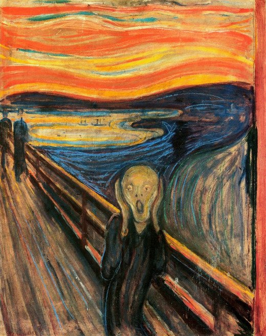 Evard Münch was an Expressionist painter. Expressionism was all about expressing emotion. In this painting, the colors remind blood, and the world looks melting in despair. The horizon is distorted and looks like it is convulsing in pain