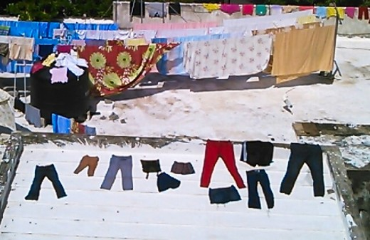 Clothes drying under the  hot Caribbean sun