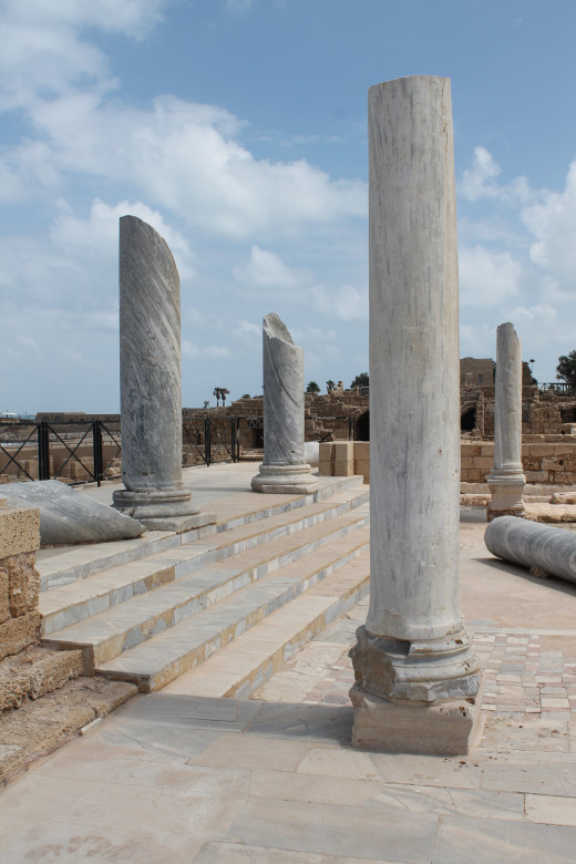 The remnants of a Roman amphitheater in Caesarea, Israel.