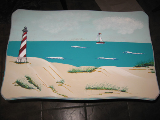 Painted Scene on an End Table
