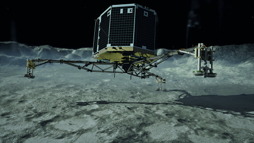 Artistic impression of the Philae landing on the comet's surface