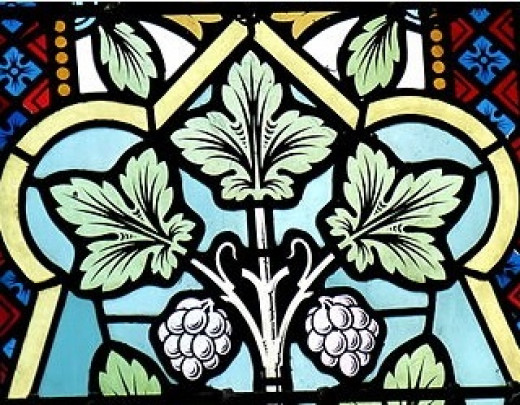 Hop plant motif in stained glass at Our Lady Church, Freistadt, Austria