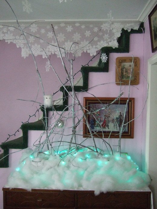 "An Icy, Frozen, Glitter Stick Masterpiece! I think I'll call it, ""The Winter Woods"""