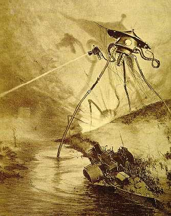 Illustration of a Martian invader from the French edition of H.G. Wells classic science fiction novel: The War of The Worlds.  In the 19th and early 20th Century the idea of an intelligent Martian race of aliens exploded.