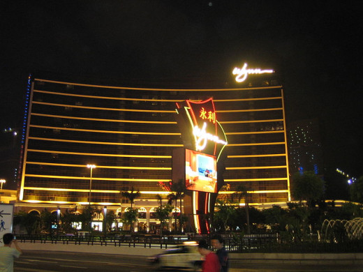 Wynn Hotel and Casino, Macau, at night.