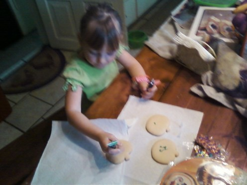 2) Carefully spread your cookies out for hand decorating.