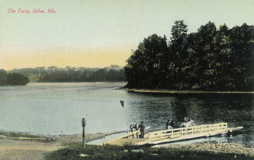 This old postcard shows a section of the Kennebec near where the Appalachian Trail crosses. Unfortunately the ferry shown in the picture was either no longer there or unknown to us when we came to the river.