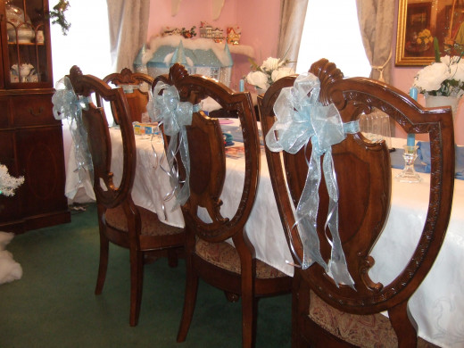 All 8 of the dining room chairs were adorned with bows, thankfully we had enough ribbon.