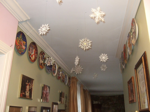 Snowflakes in the front hallway, on the way to the living room