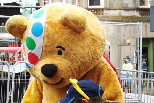 The BBC Children in Need iconic figure Pudsey Bear.