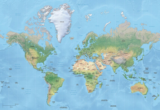 Political vector map of the world with shaded relief.