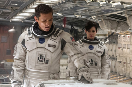 "Astronauts Cooper (Matthew McConaughey) and Amelia Brand (Anne Hathaway) are about to make another discovery on a far-off planet in ""Interstellar""."