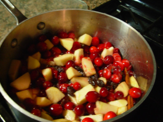 The Apple-Cranberry Sauce after about five minutes of cooking.