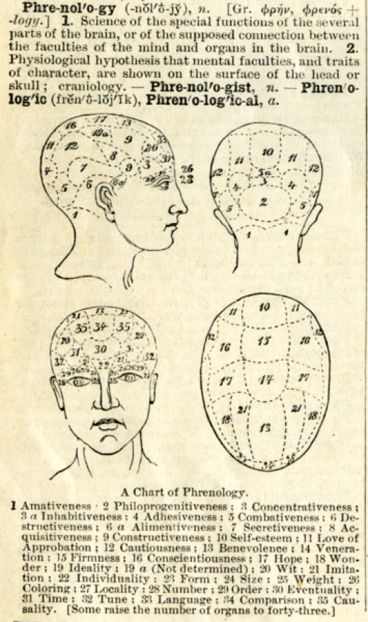 Phrenology from a circa 1900 Webster's Dictionary