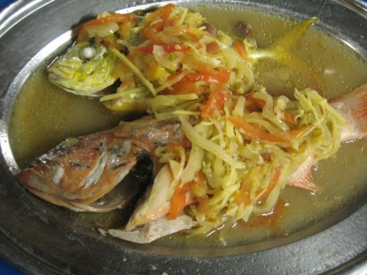 Delicious steamed garoupa @ Kelong