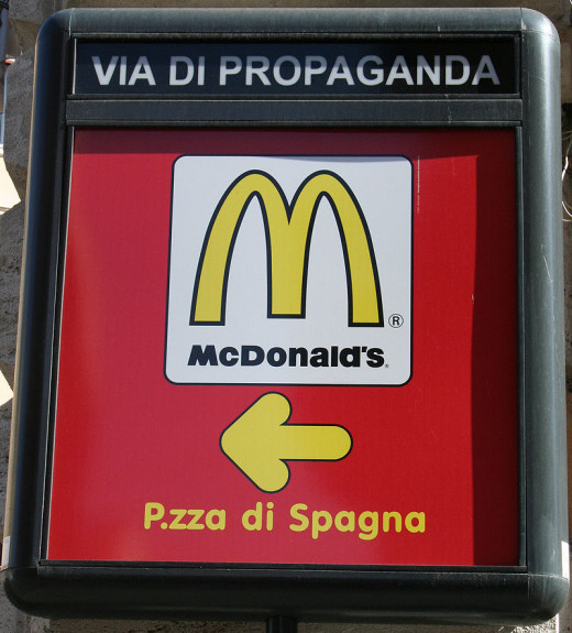 McDonald's ad on the Via di Propaganda in Rome, Italy.