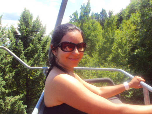 Me experiencing the Poconos mountain on the a skyride at Camelback.  I was smiling but I so scared.