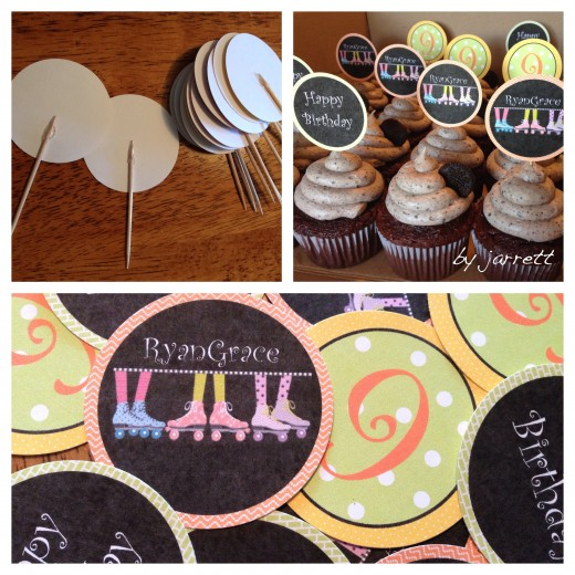 Paper Toppers made with cardstock and tooth picks.