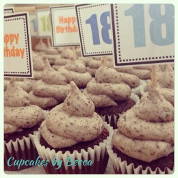 Square toppers on mini cupcakes!