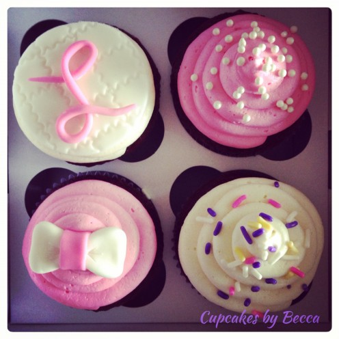 Not all cupcakes have to have elaborate fondant creations, sometimes a simple bow or creating a smooth circle topper to write on is a nice touch!