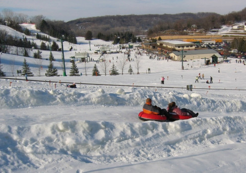 Snow tubing, skiing and snow boarding are all part of the fun at Mount Kato. Dress warm because it's freezing cold at the mountain peaks.