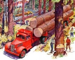 Even with log trucks, the job of logging was still tough for any man to do