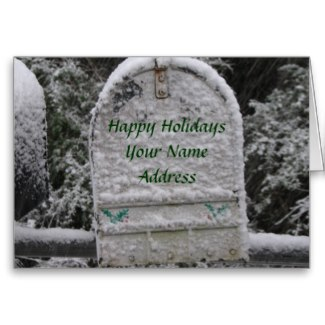 Personalize it by adding your name and address to this snowy mailbox card.