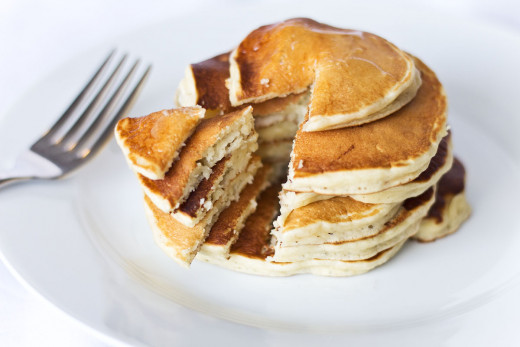 A fresh, fluffy stack of apple pie pancakes.