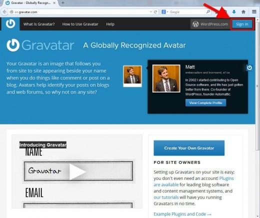 Gravatar.com Sign In