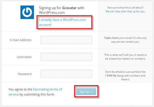 Gravatar.com Log in or Sign up