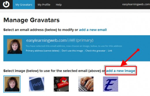 Gravatar.com add a new image