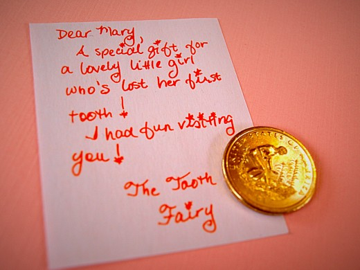 Sometimes you can find some special-looking money (dollar coins, $2 bills, etc.) to leave with your little tooth fairy note.