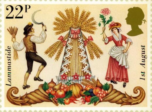 "A British stamp featuring ""Lammastide"""