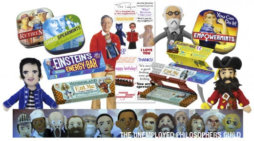 "(l to r, from the top): Retiremints, Shakespearmints, Mr. Rogers Quotable Notable Card Set, Sigmund Freud Magnetic Finger Puppet, Empowermints, Elvis Finger Puppet, Einstein's Energy Bar, Wonderland """"Eat Me"" Bar, and Bluebeard Finger Puppet."