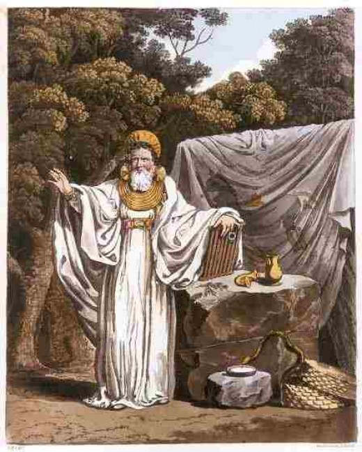 An arch Druid in his judicial habit, 19th century illustration.
