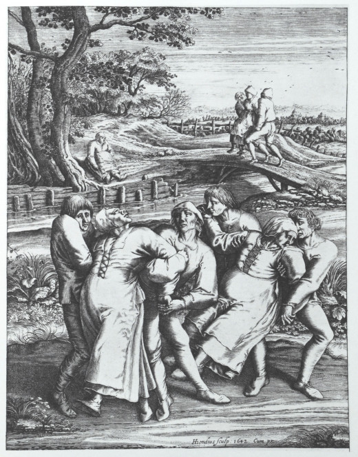 A drawing by Pieter Brueghel the Elder depicting victims of the Dancing Plague