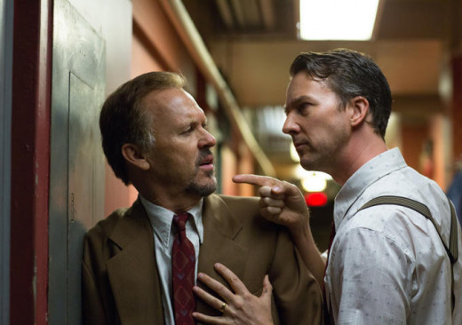 "Riggan Thomson (Michael Keaton, left) and Mike (Edward Norton, right) have a backstage stand off in ""Birdman or (The Unexpected Virtue of Ignorance)."