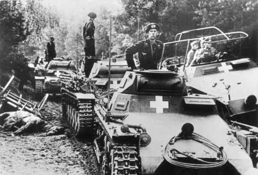 Panzer Is & IIs having crossed the Brahe river. On their left side Guderian on a half-track.