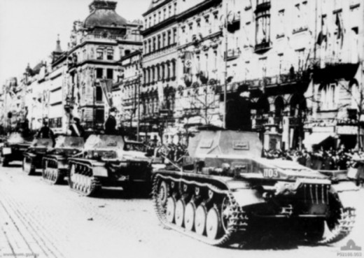 Panzer IIs of the 3rd Panzer-Division parading in Prague, in March 1939. The tank commanders are saluting their commanding general Geyr von Schweppenburg.